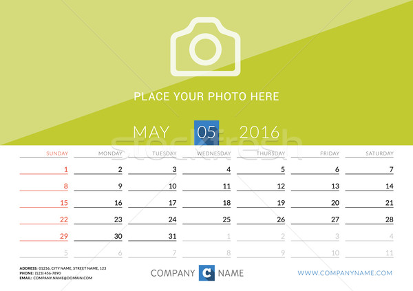 Desk Calendar 2016. Vector Print Template. May. Week Starts Sunday Stock photo © mikhailmorosin