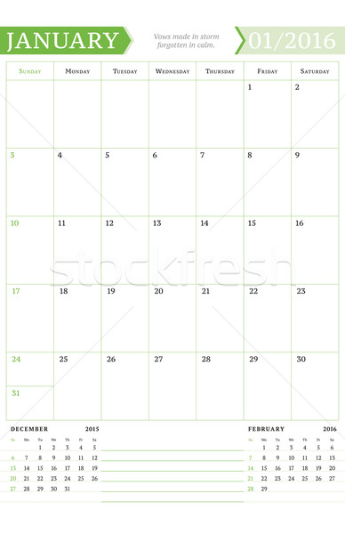 January 2016. Monthly Calendar Planner for 2016 Year. Vector Design Print Template with Place for No Stock photo © mikhailmorosin
