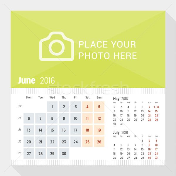 June 2016. Desk Calendar for 2016 Year. Week Starts Monday. 3 Months on Page. Vector Design Print Te Stock photo © mikhailmorosin