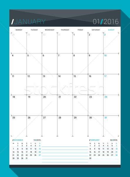 2016 vetor projeto imprimir modelo mensal Foto stock © mikhailmorosin