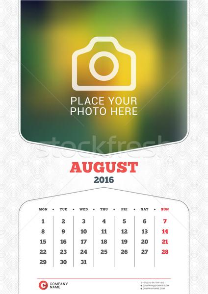 Stock fotó: Augusztus · 2016 · fal · havi · naptár · év