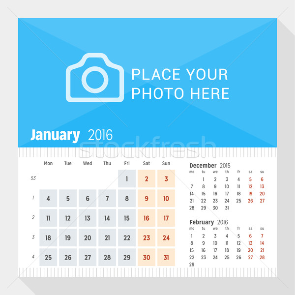 January 2016. Desk Calendar for 2016 Year. Week Starts Monday. 3 Months on Page. Vector Design Print Stock photo © mikhailmorosin