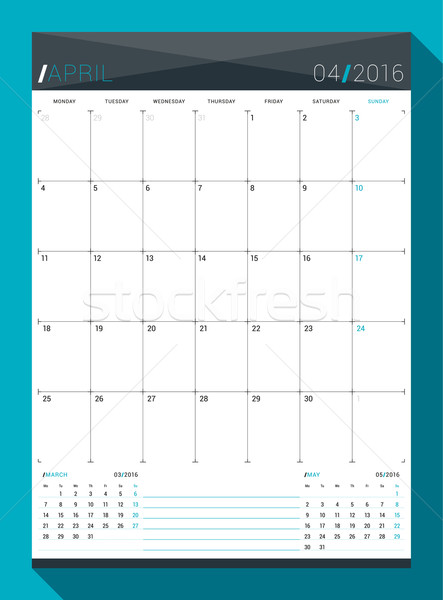 April 2016. Vector Design Print Template. Monthly Calendar Planner for 2016 Year. Week Starts Monday Stock photo © mikhailmorosin