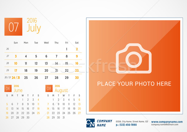 Desk Calendar 2016. Vector Print Template. July. Week Starts Sunday Stock photo © mikhailmorosin