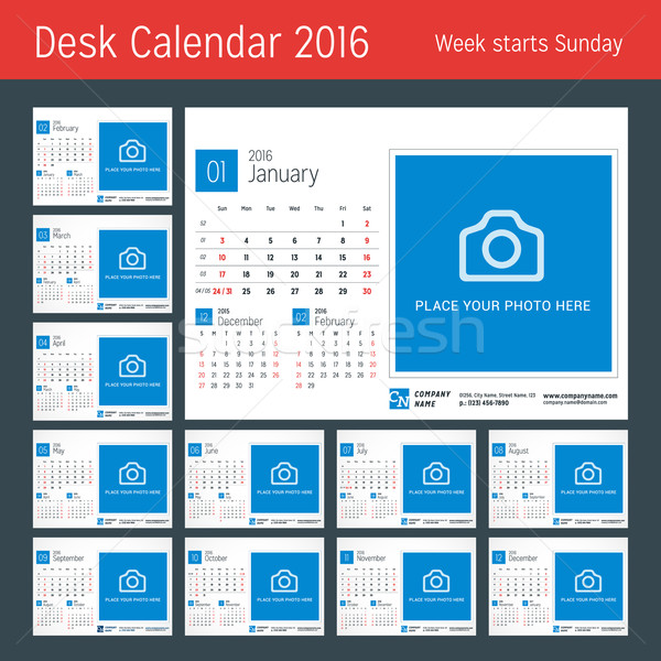 Desk Calendar for 2016 Year. Vector Design Print Template with Place for Photo. 3 Months on Page. We Stock photo © mikhailmorosin