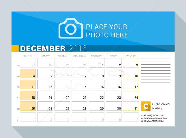 Kalender ontwerper 2016 jaar december vector Stockfoto © mikhailmorosin