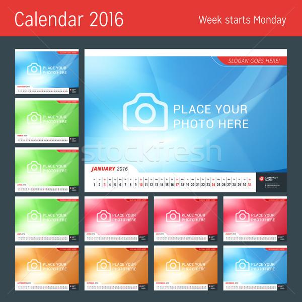 Line Calendar for 2016 Year. Vector Design Print Template. Week Starts Monday. Set of 12 Months Stock photo © mikhailmorosin