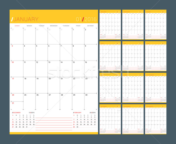 Calendar Planner for 2016 Year. Vector Design Print Template. Week Starts Sunday. Set of 12 Months Stock photo © mikhailmorosin