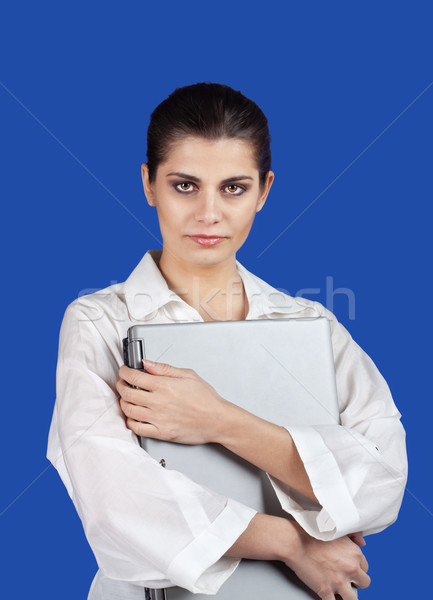 женщину ноутбука серьезный молодые брюнетка Сток-фото © MikLav