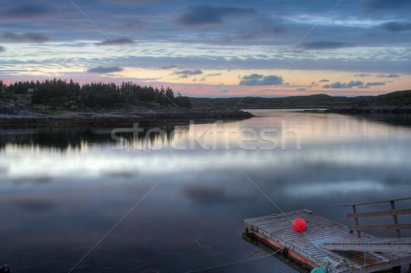 Fjord fisherman pier in sunset Stock photo © MikLav
