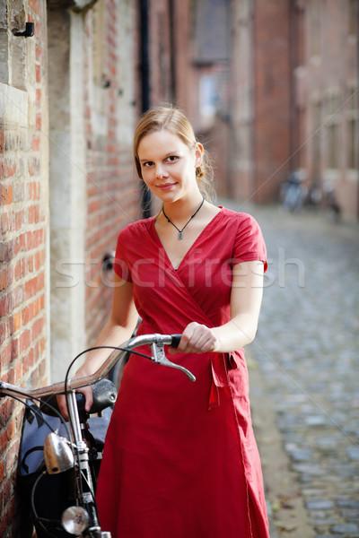 Csinos fiatal nő bicikli fiatal szőke nő Stock fotó © MikLav
