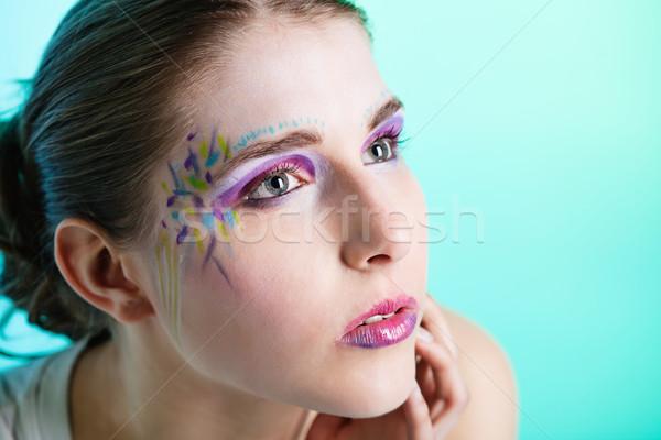 肖像 若い女性 顔 芸術 クローズアップ かなり ストックフォト © MikLav