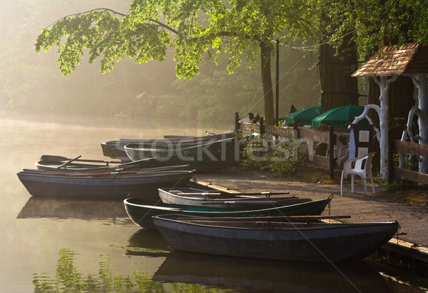 Waterside cafe in a misty morning Stock photo © MikLav