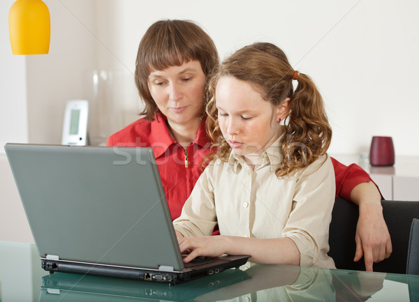 Mom and daughter with laptop Stock photo © MikLav
