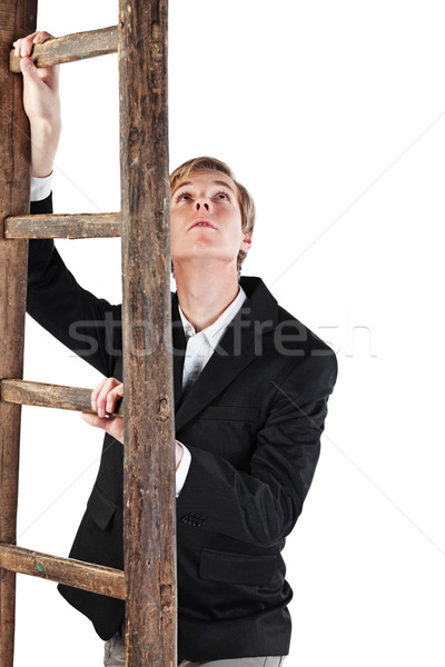 Young man with ladder Stock photo © MikLav