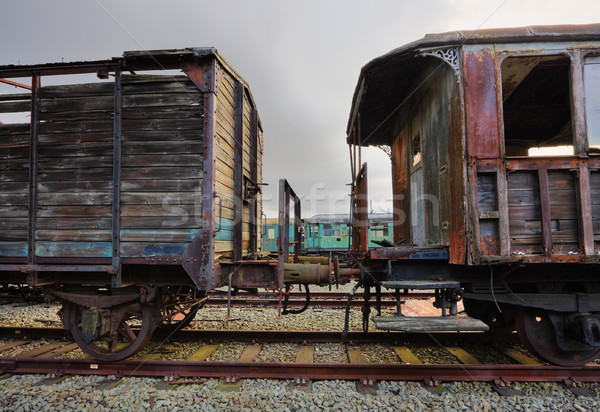 Elhagyatott vasút áll rozsdás hdr kép Stock fotó © MikLav