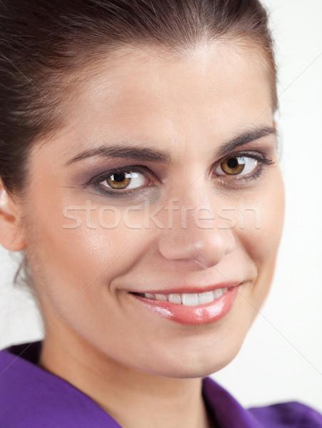 肖像 小さな 笑顔の女性 笑みを浮かべて かなり ブルネット ストックフォト © MikLav