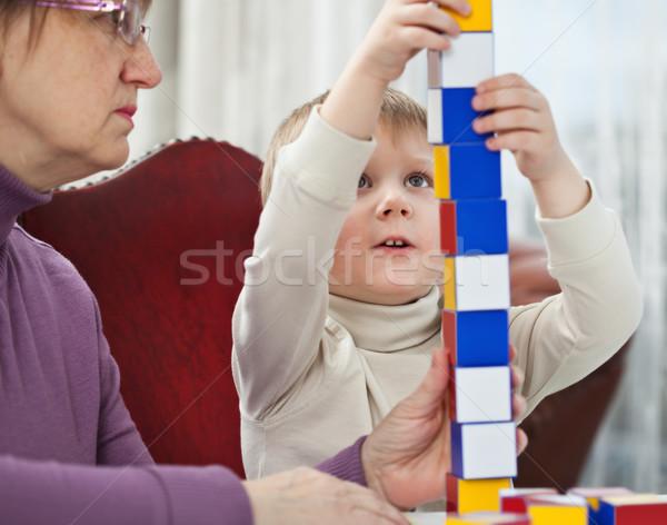 Fiú játszik kockák kicsi szőke épület Stock fotó © MikLav