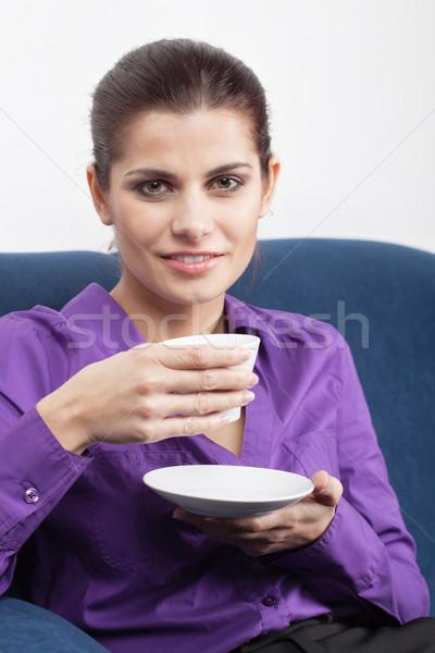 Fiatal üzletasszony kávészünet csinos iroda nő Stock fotó © MikLav
