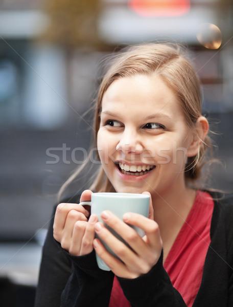 かなり 若い女性 カップ ホットドリンク レストラン ストックフォト © MikLav