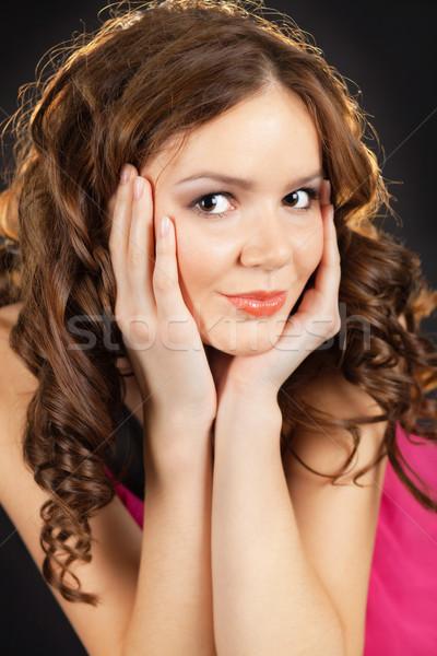 довольно портрет лице ладонями Сток-фото © MikLav