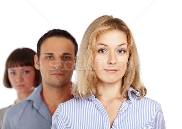 бизнес-команды три коллеги избирательный подход женщину передний план Сток-фото © MikLav