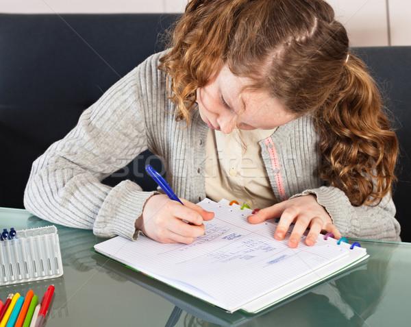 Girl doing homework Stock photo © MikLav
