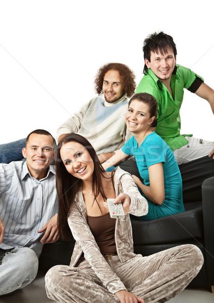 幸せ グループ 若者 座って 一緒に を見て ストックフォト © MikLav