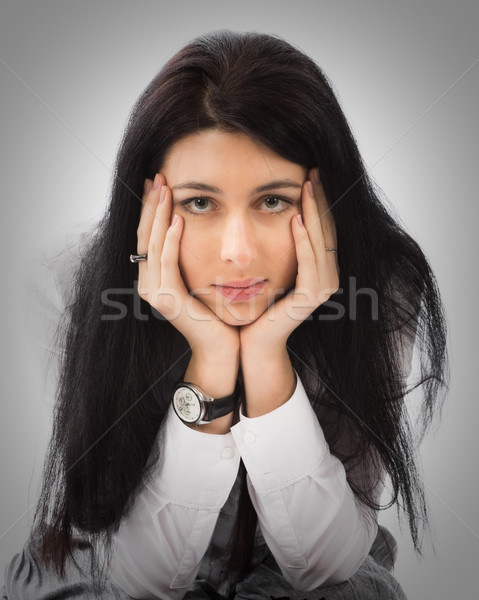 брюнетка девушки портрет голову рук Сток-фото © MikLav