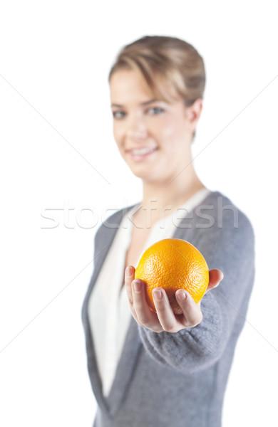 довольно девушки оранжевый стороны изолированный белый Сток-фото © MikLav