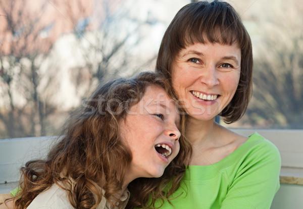 счастливая семья счастливым улыбаясь матери вместе подростку Сток-фото © MikLav