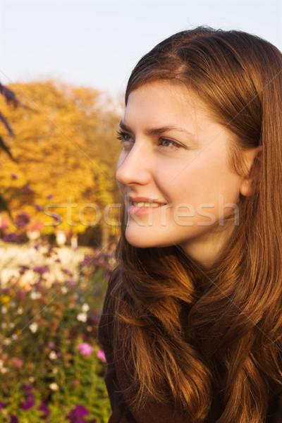Fiatal nő fényes ősz park fej portré Stock fotó © MikLav