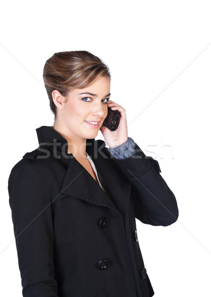 Mosolyog fiatal nő mobiltelefon csinos beszél nő Stock fotó © MikLav