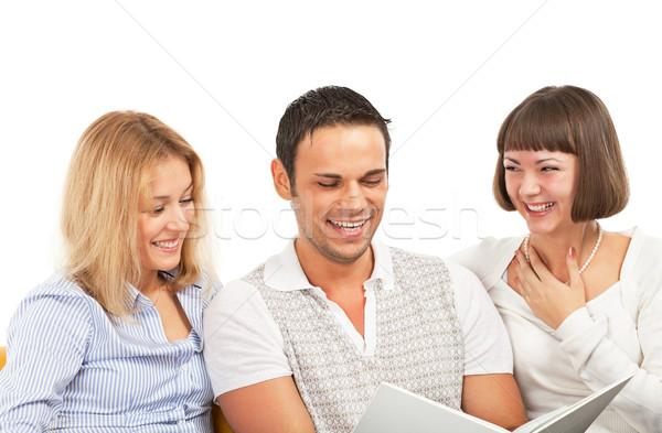 Fiatalok könyv három boldog fiatal barátok Stock fotó © MikLav