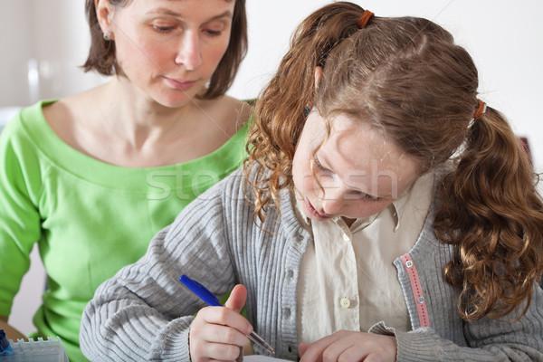 девушки домой работу мамы подростку сидят Сток-фото © MikLav