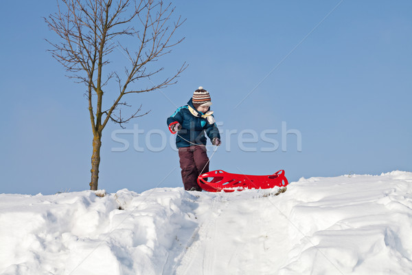 Boy pulling red plastic sledge to a snowy hill Stock photo © MikLav