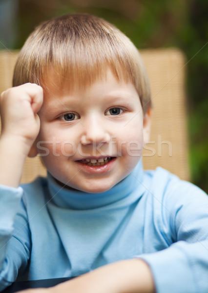 笑みを浮かべて 少年 かわいい ブロンド 手 ストックフォト © MikLav
