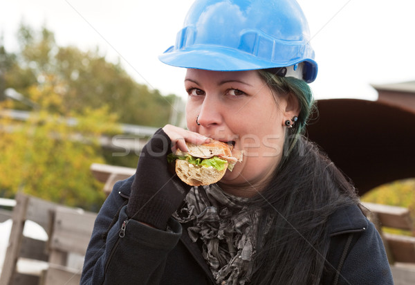 女性 ワーカー 食べ サンドイッチ マニュアル 青 ストックフォト © MikLav