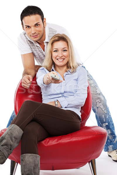 Vicces tv program fiatal csinos nő jóképű férfi Stock fotó © MikLav