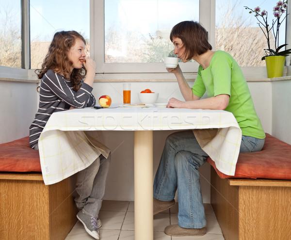 家族 朝食 娘 ママ 一緒に 女性 ストックフォト © MikLav