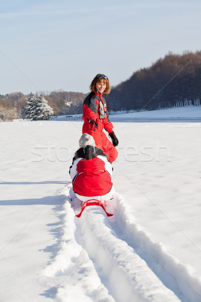 Mother and daughter in winter park Stock photo © MikLav