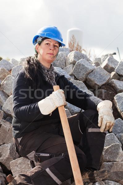 Homme travailleur de la construction bleu construction outil Photo stock © MikLav