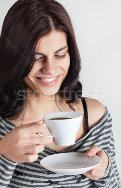 кофе улыбаясь молодые брюнетка женщину Сток-фото © MikLav
