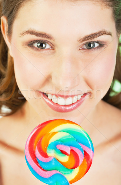 Teenager girl with lollipop Stock photo © MikLav