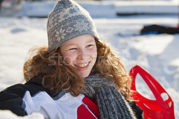 Nyugodt lány tél piros szánkó szőke Stock fotó © MikLav
