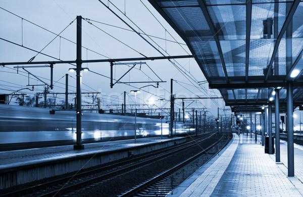 Vonat állomás szürkület elmosódott kék éjszaka Stock fotó © MikLav