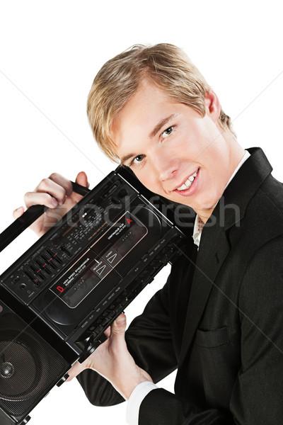 Jonge man stereo blond knap glimlachend speler Stockfoto © MikLav