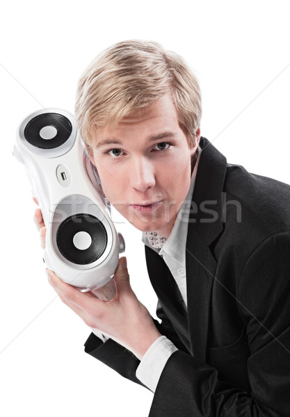 Young man with boombox Stock photo © MikLav
