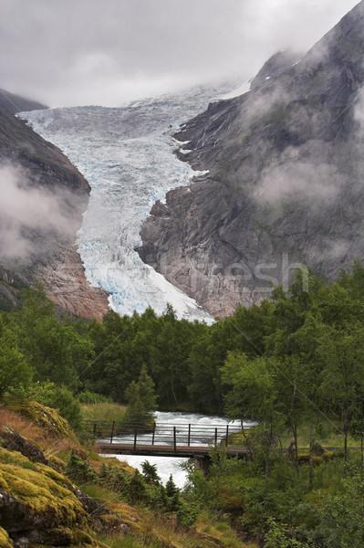 Bridge over the stream at Briksdal glacier Stock photo © MikLav
