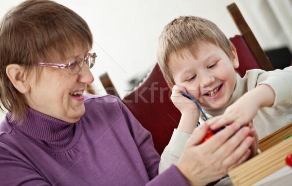 Сток-фото: бабушка · внук · играет · домой · семьи · счастливым